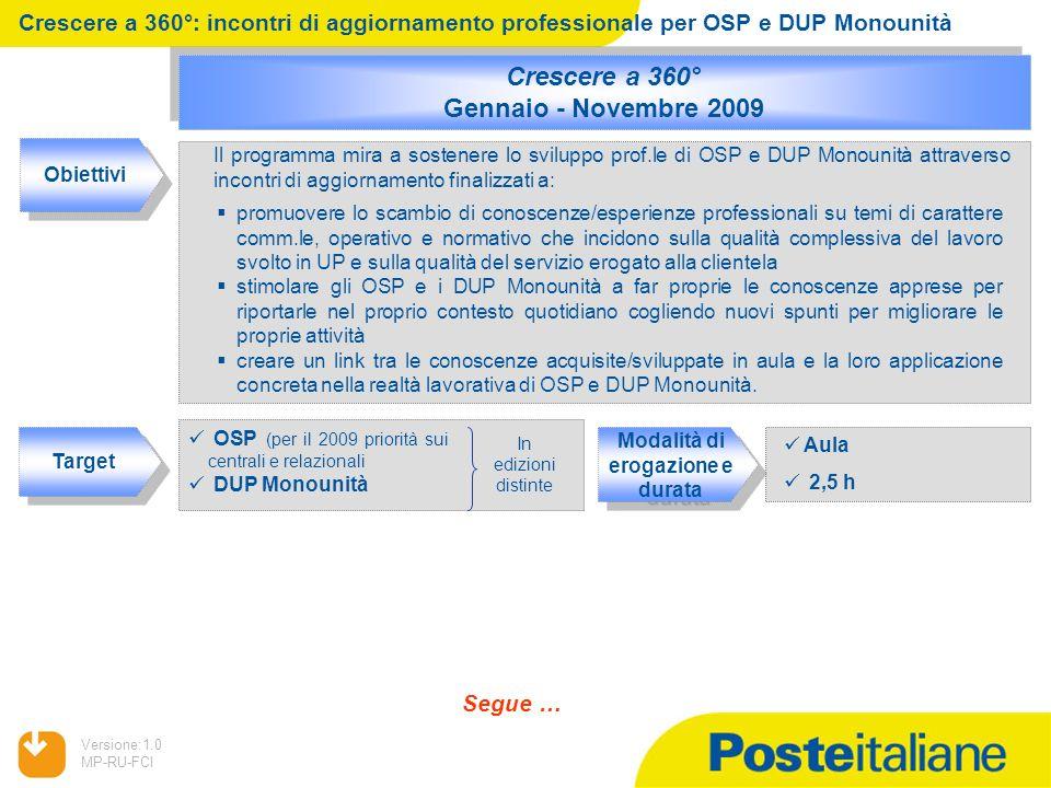 05/02/2014 Versione:1.0 MP-RU-FCI promuovere lo scambio di conoscenze/esperienze professionali su temi di carattere comm.le, operativo e normativo che
