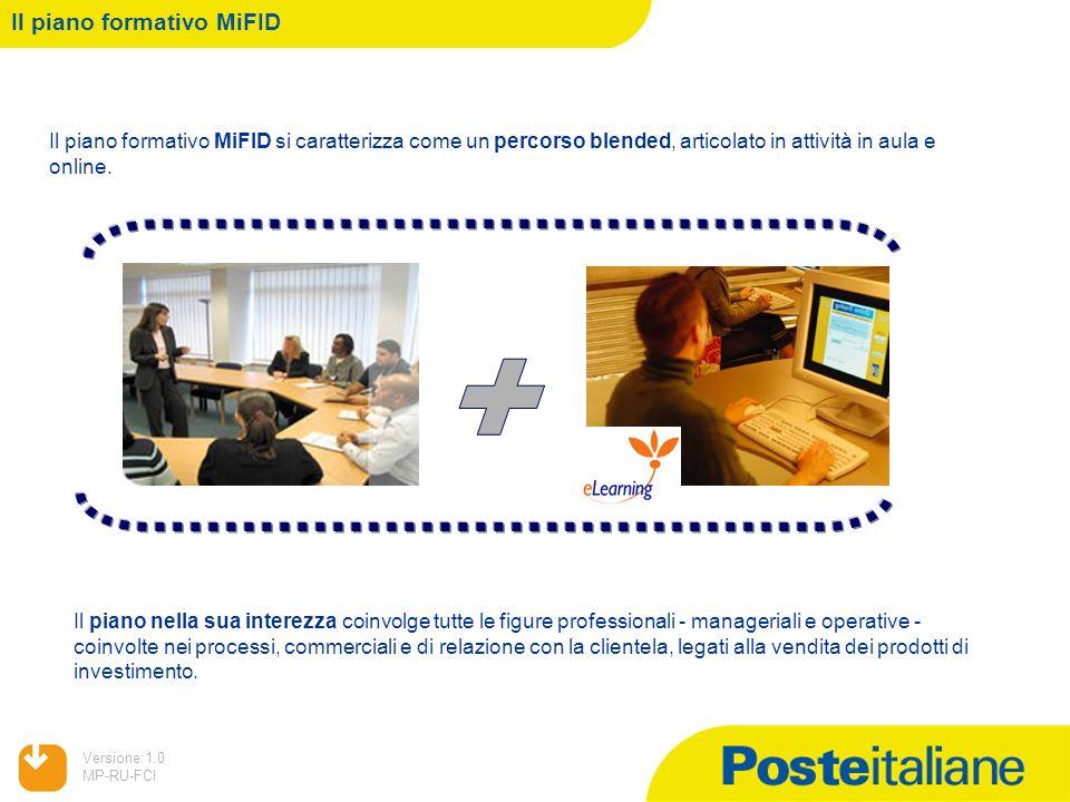 05/02/2014 Versione:1.0 MP-RU-FCI Il piano formativo MiFID Il piano formativo MiFID si caratterizza come un percorso blended, articolato in attività i