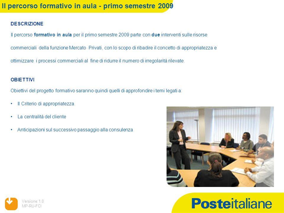 05/02/2014 Versione:1.0 MP-RU-FCI DESCRIZIONE Il percorso formativo in aula per il primo semestre 2009 parte con due interventi sulle risorse commerci