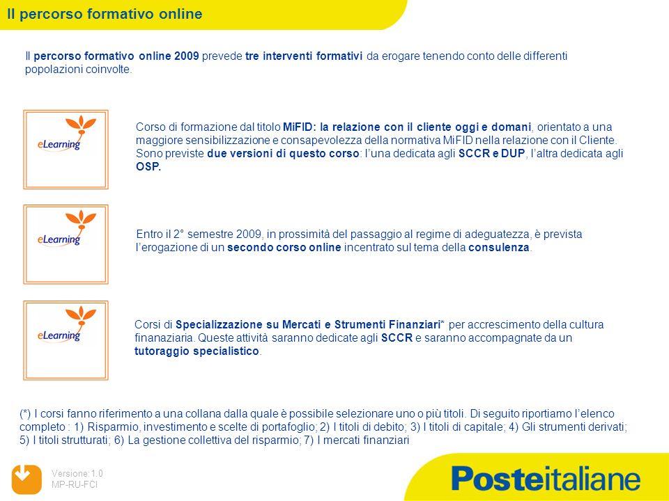 05/02/2014 Versione:1.0 MP-RU-FCI Il percorso formativo online Il percorso formativo online 2009 prevede tre interventi formativi da erogare tenendo c