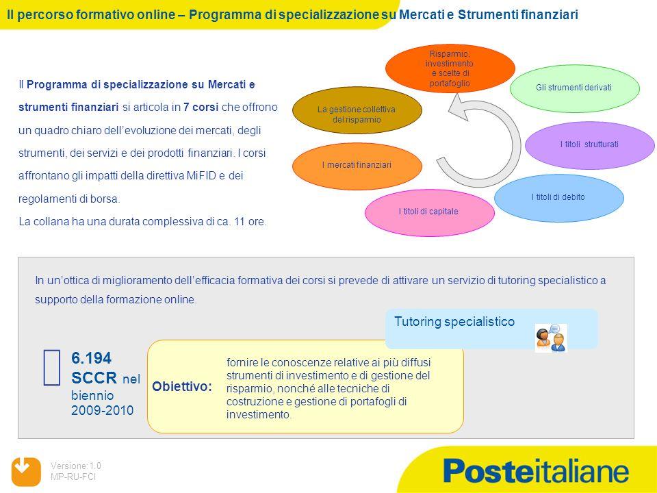 05/02/2014 Versione:1.0 MP-RU-FCI Il percorso formativo online – Programma di specializzazione su Mercati e Strumenti finanziari Il Programma di speci