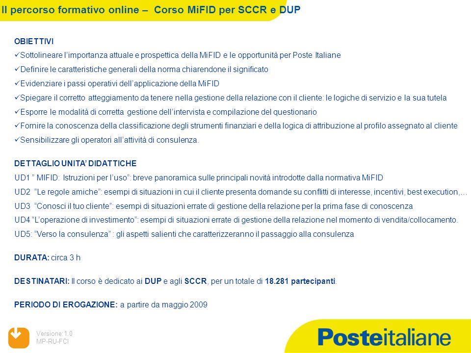 05/02/2014 Versione:1.0 MP-RU-FCI Il percorso formativo online – Corso MiFID per SCCR e DUP OBIETTIVI Sottolineare limportanza attuale e prospettica d