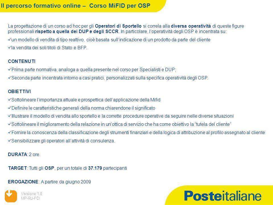 05/02/2014 Versione:1.0 MP-RU-FCI Il percorso formativo online – Corso MiFID per OSP La progettazione di un corso ad hoc per gli Operatori di Sportell