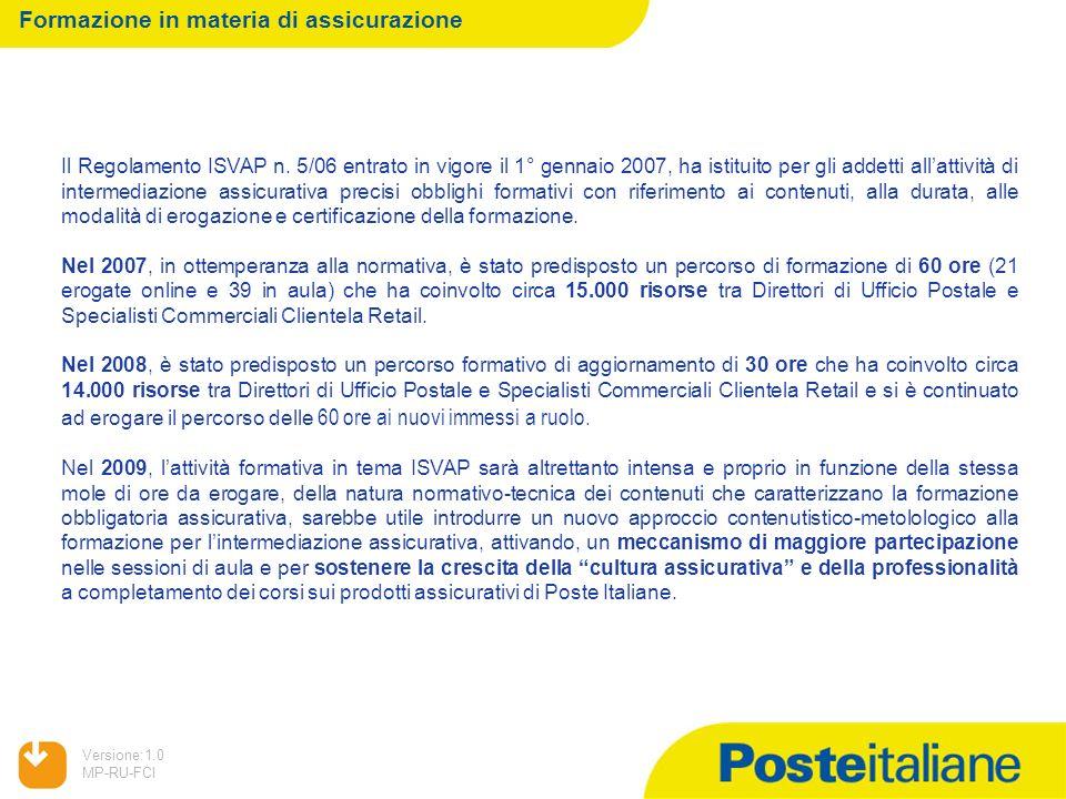 05/02/2014 Versione:1.0 MP-RU-FCI Formazione in materia di assicurazione Il Regolamento ISVAP n. 5/06 entrato in vigore il 1° gennaio 2007, ha istitui