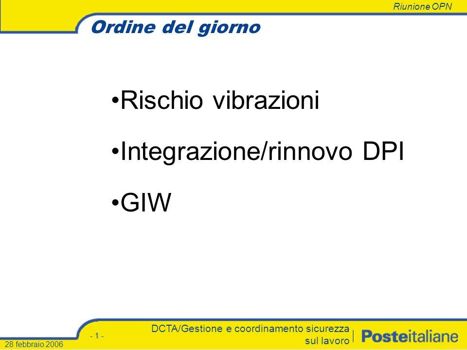 Roma, DCTA/Gestione e coordinamento sicurezza sul lavoro 28 febbraio 200628 febbraio 2006 Riunione OPN