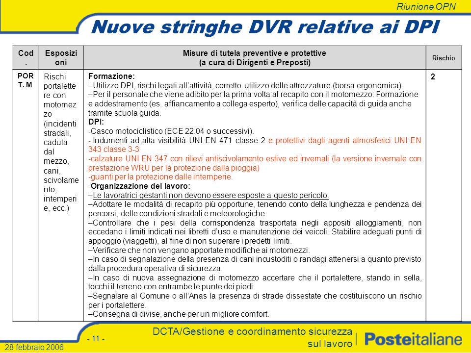 Riunione OPN - 10 - DCTA/Gestione e coordinamento sicurezza sul lavoro 28 febbraio 2006 Cod.Esposizioni Misure di tutela preventive e protettive (a cu