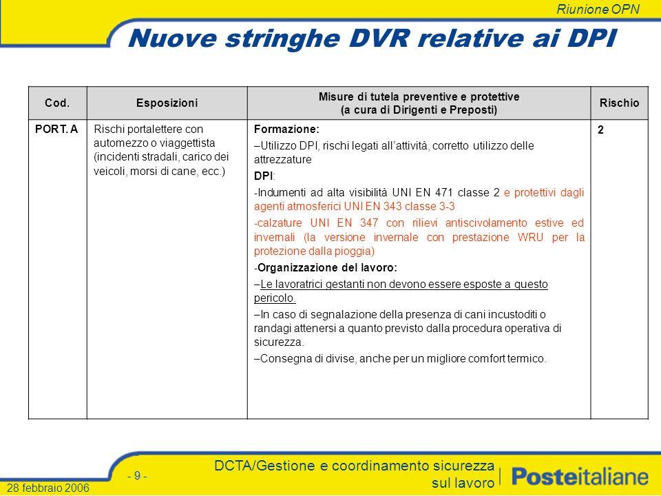 Riunione OPN - 8 - DCTA/Gestione e coordinamento sicurezza sul lavoro 28 febbraio 2006 INTEGRAZIONE/RINNOVO DPI