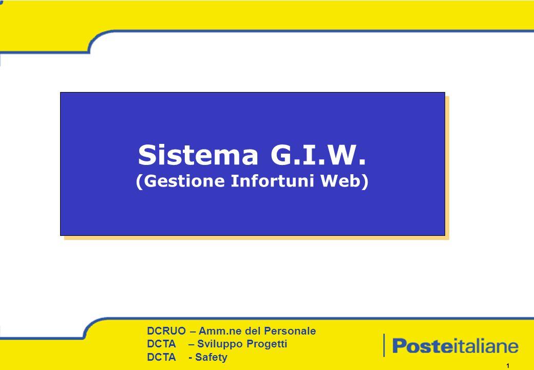 DCRUO – Amm.ne del Personale Procedure e Coordinamento territoriale DCRUO – Amm.ne del Personale DCTA – Sviluppo Progetti DCTA - Safety 1 Sistema G.I.W.