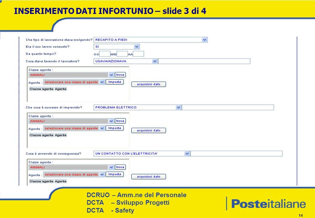 DCRUO – Amm.ne del Personale Procedure e Coordinamento territoriale DCRUO – Amm.ne del Personale DCTA – Sviluppo Progetti DCTA - Safety 14 INSERIMENTO DATI INFORTUNIO – slide 3 di 4