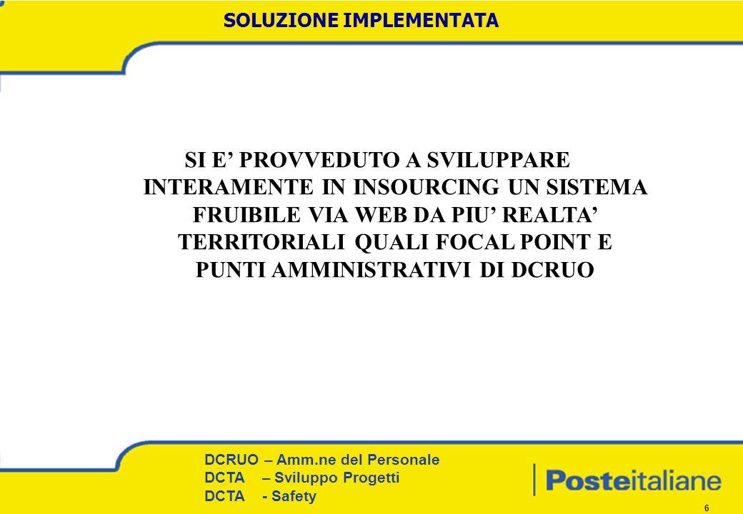DCRUO – Amm.ne del Personale Procedure e Coordinamento territoriale DCRUO – Amm.ne del Personale DCTA – Sviluppo Progetti DCTA - Safety 6 SOLUZIONE IMPLEMENTATA SI E PROVVEDUTO A SVILUPPARE INTERAMENTE IN INSOURCING UN SISTEMA FRUIBILE VIA WEB DA PIU REALTA TERRITORIALI QUALI FOCAL POINT E PUNTI AMMINISTRATIVI DI DCRUO
