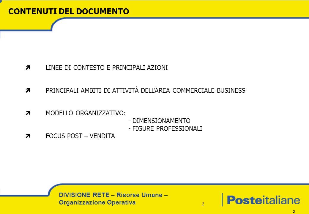 DIVISIONE RETE – Risorse Umane – Organizzazione Operativa 3 3 Organizzazione del 2004 e necessità di una revisione.