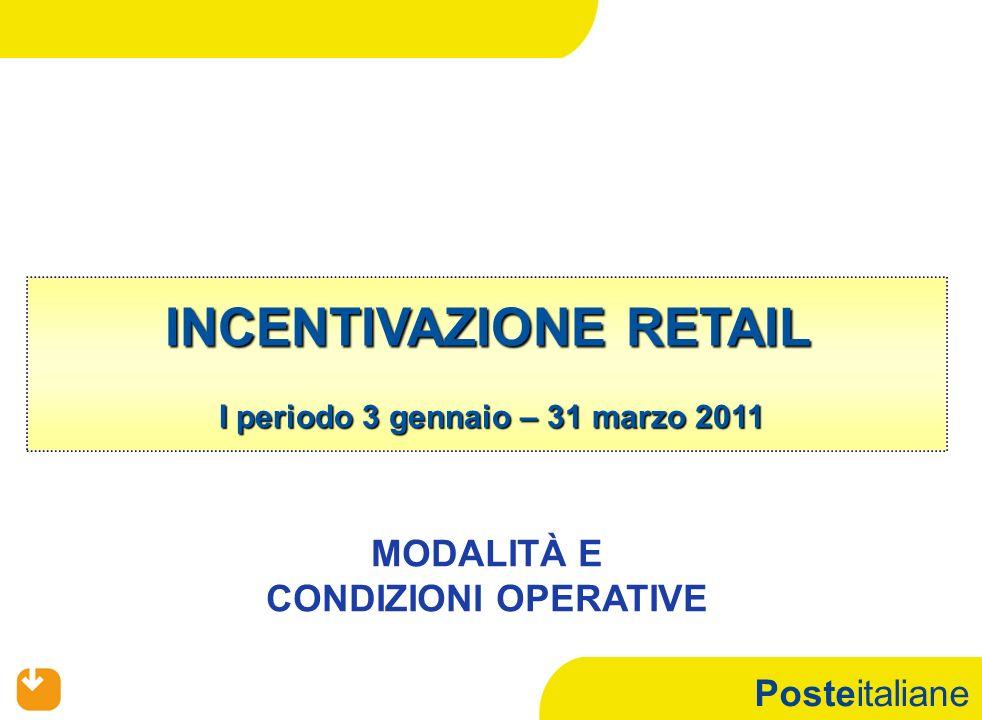 Posteitaliane INCENTIVAZIONE RETAIL I periodo 3 gennaio – 31 marzo 2011 MODALITÀ E CONDIZIONI OPERATIVE