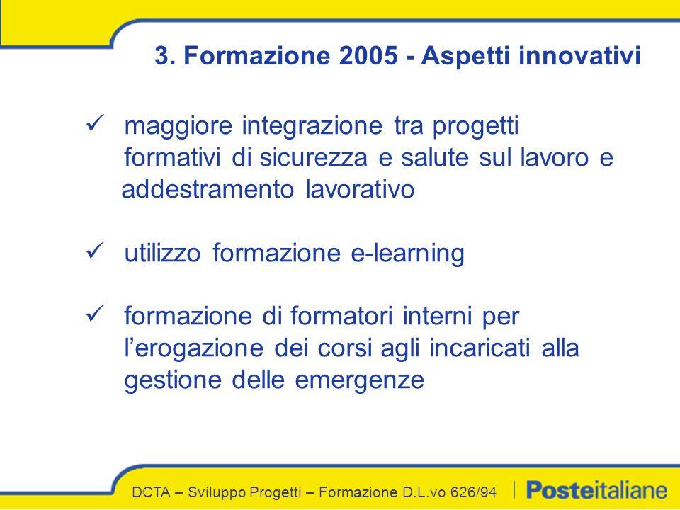 3. Formazione 2005 - Aspetti innovativi maggiore integrazione tra progetti formativi di sicurezza e salute sul lavoro e addestramento lavorativo utili