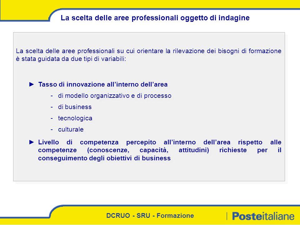 DCRUO - SRU - Formazione La scelta delle aree professionali su cui orientare la rilevazione dei bisogni di formazione è stata guidata da due tipi di v