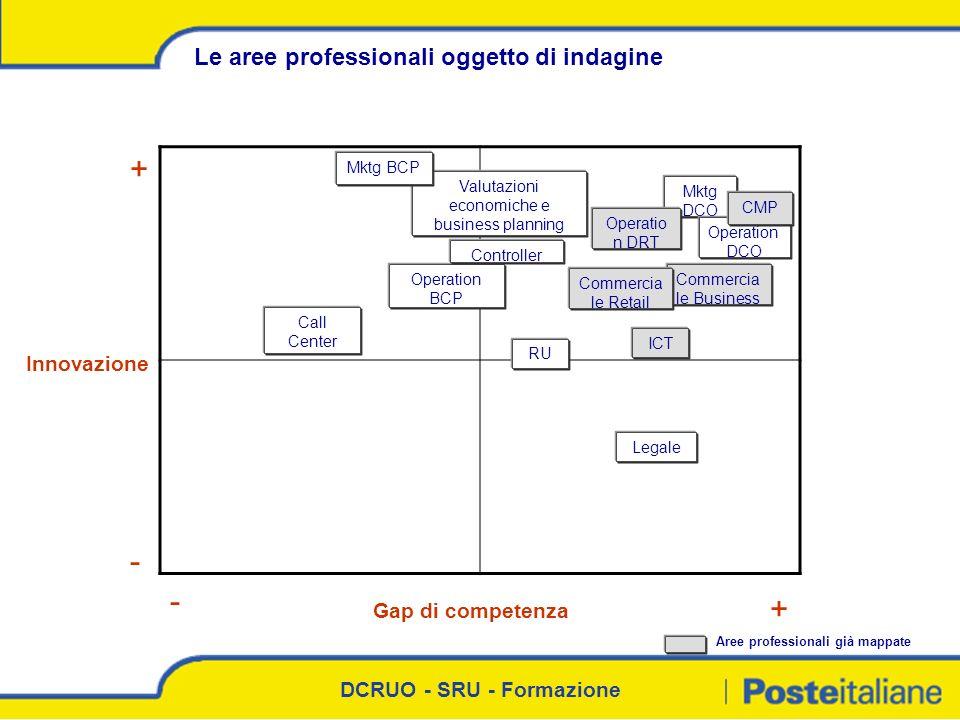 DCRUO - SRU - Formazione Commercia le Business Innovazione Le aree professionali oggetto di indagine Gap di competenza - + - + RU ICT Valutazioni econ