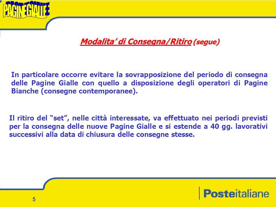 4 Modalita di Consegna/Ritiro La consegna di Pagine Gialle al destinatario finale viene effettuata dal personale di Poste Italiane addetto al Recapito sia singolarmente che organizzato in squadre.
