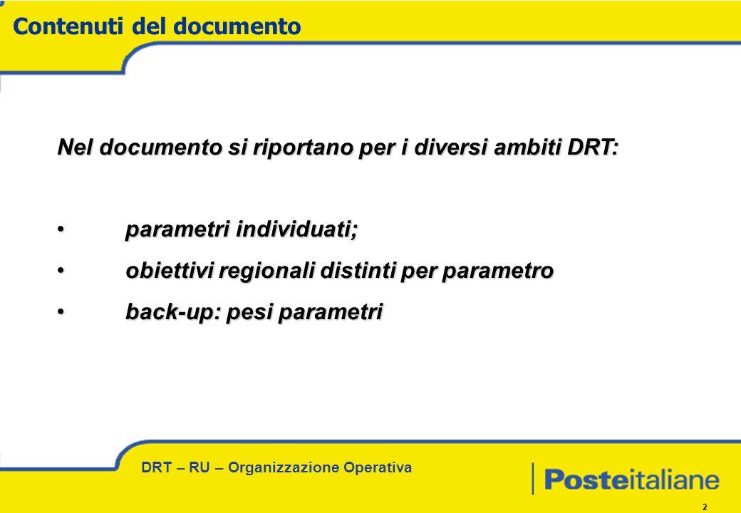 DRT – RU – Organizzazione Operativa 2 Nel documento si riportano per i diversi ambiti DRT: parametri individuati; parametri individuati; obiettivi regionali distinti per parametro obiettivi regionali distinti per parametro back-up: pesi parametri back-up: pesi parametri Contenuti del documento