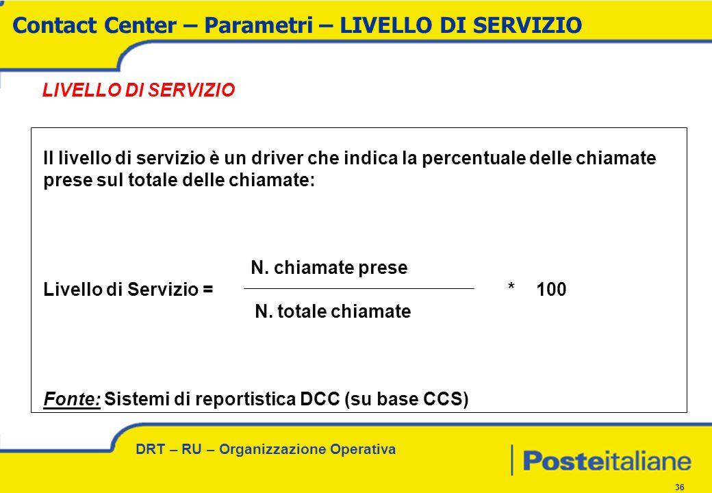 DRT – RU – Organizzazione Operativa 36 LIVELLO DI SERVIZIO Il livello di servizio è un driver che indica la percentuale delle chiamate prese sul totale delle chiamate: N.