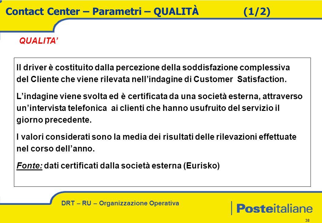 DRT – RU – Organizzazione Operativa 38 QUALITA Il driver è costituito dalla percezione della soddisfazione complessiva del Cliente che viene rilevata nellindagine di Customer Satisfaction.