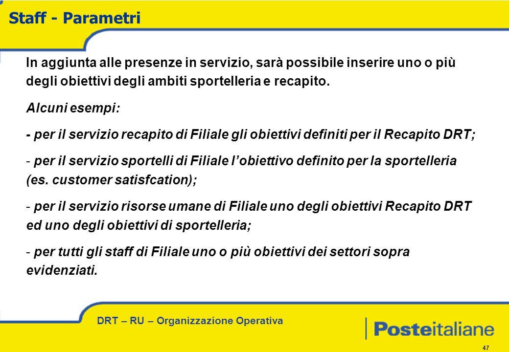 DRT – RU – Organizzazione Operativa 47 In aggiunta alle presenze in servizio, sarà possibile inserire uno o più degli obiettivi degli ambiti sportelleria e recapito.