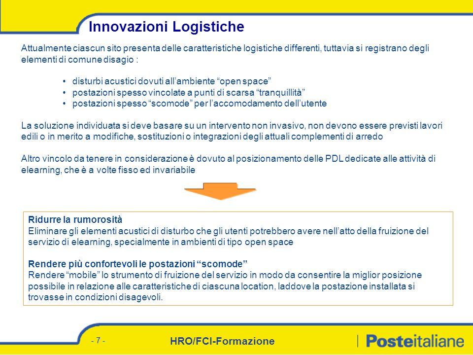 HRO/FCI-Formazione - 6 - Agenda Consuntivo eLearning 06 Focus: Innovazioni logistiche