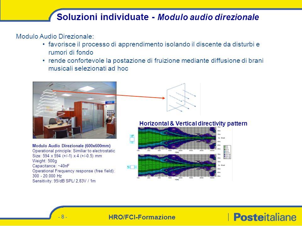 HRO/FCI-Formazione - 8 - Modulo Audio Direzionale: favorisce il processo di apprendimento isolando il discente da disturbi e rumori di fondo rende confortevole la postazione di fruizione mediante diffusione di brani musicali selezionati ad hoc Soluzioni individuate - Modulo audio direzionale Modulo Audio Direzionale (600x600mm) Operational principle: Similiar to electrostatic Size: 594 x 594 (+/-1) x 4 (+/-0.5) mm Weight: 500g Capacitance: ~40nF Operational Frequency response (free field): 300 - 20.000 Hz Sensitivity: 95/dB SPL/ 2,83V / 1m Horizontal & Vertical directivity pattern