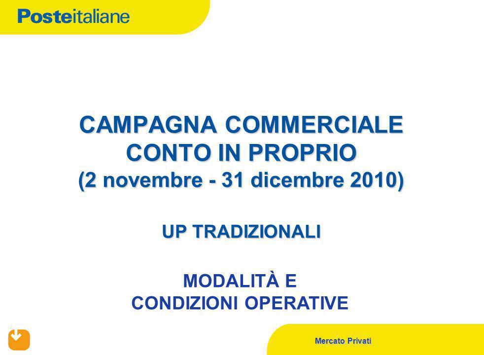 Mercato Privati CAMPAGNA COMMERCIALE CONTO IN PROPRIO (2 novembre - 31 dicembre 2010) UP TRADIZIONALI MODALITÀ E CONDIZIONI OPERATIVE