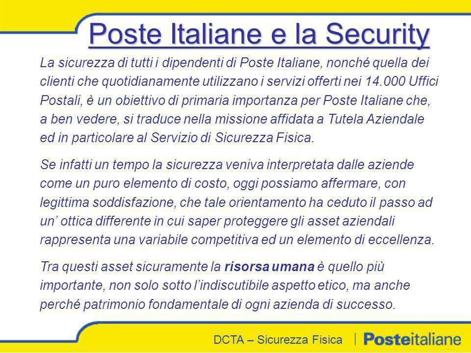DCTA - Sicurezza Fisica DCTA – Sicurezza Fisica La sicurezza di tutti i dipendenti di Poste Italiane, nonché quella dei clienti che quotidianamente ut