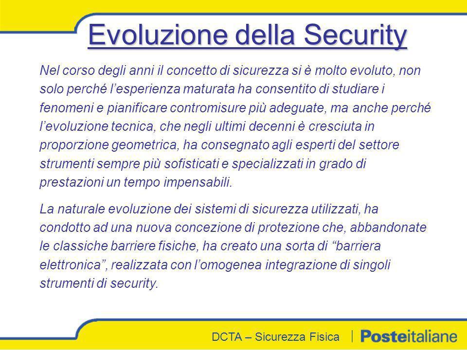 DCTA - Sicurezza Fisica DCTA – Sicurezza Fisica Nel corso degli anni il concetto di sicurezza si è molto evoluto, non solo perché lesperienza maturata
