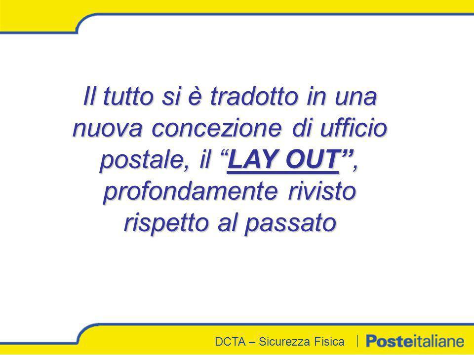 DCTA - Sicurezza Fisica DCTA – Sicurezza Fisica Il tutto si è tradotto in una nuova concezione di ufficio postale, il LAY OUT, profondamente rivisto r
