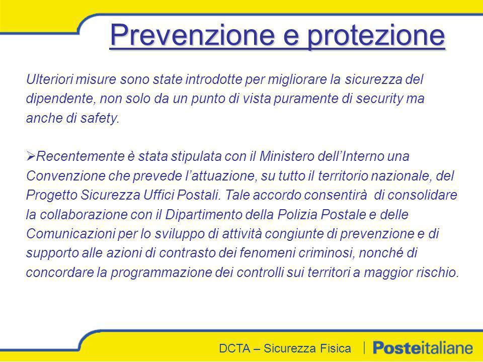 DCTA - Sicurezza Fisica DCTA – Sicurezza Fisica Ulteriori misure sono state introdotte per migliorare la sicurezza del dipendente, non solo da un punt