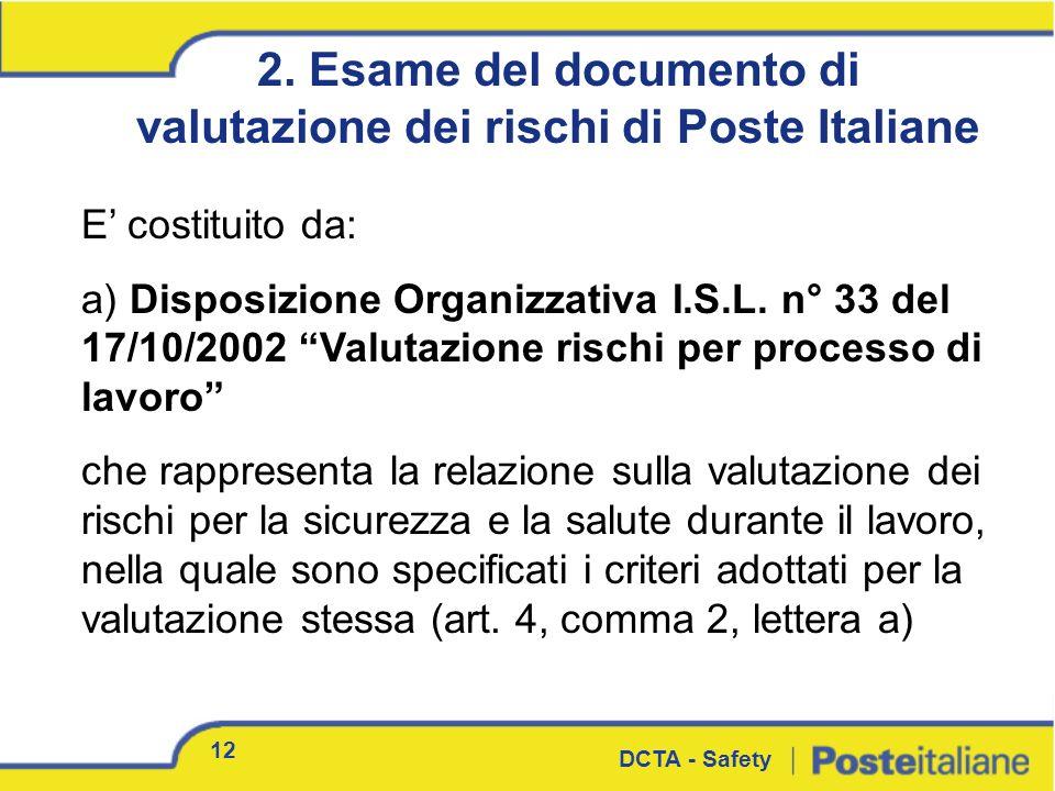 E costituito da: a) Disposizione Organizzativa I.S.L. n° 33 del 17/10/2002 Valutazione rischi per processo di lavoro che rappresenta la relazione sull