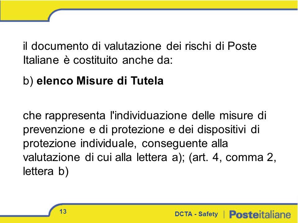 il documento di valutazione dei rischi di Poste Italiane è costituito anche da: b) elenco Misure di Tutela che rappresenta l'individuazione delle misu