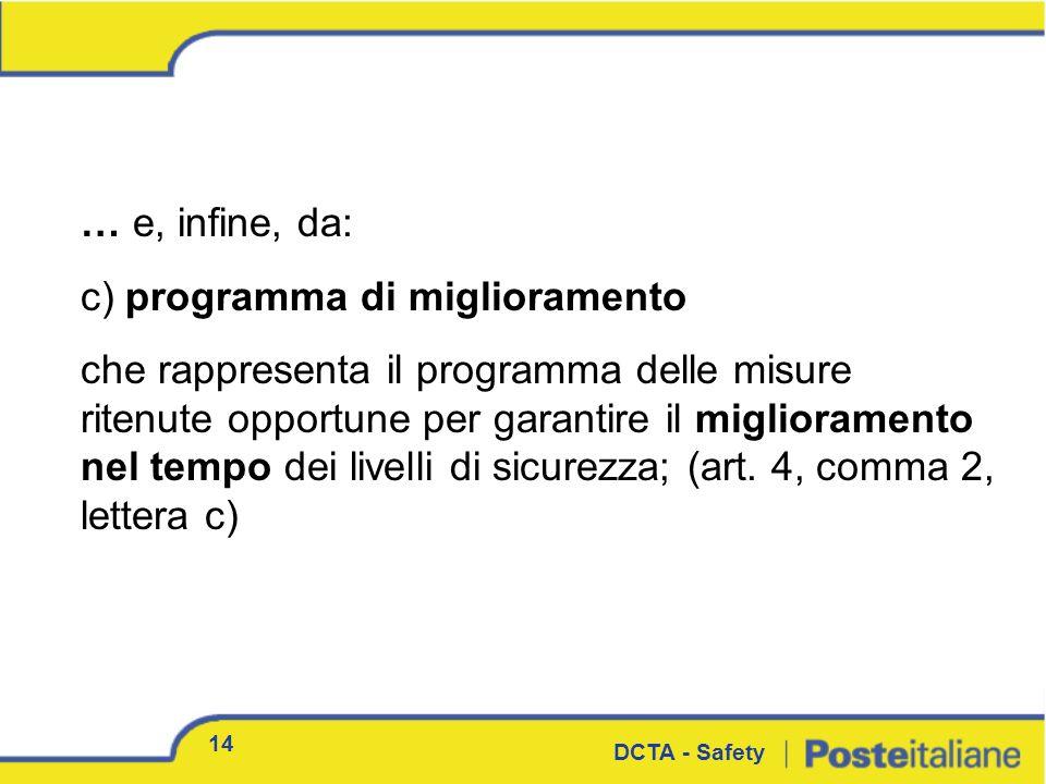… e, infine, da: c) programma di miglioramento che rappresenta il programma delle misure ritenute opportune per garantire il miglioramento nel tempo d