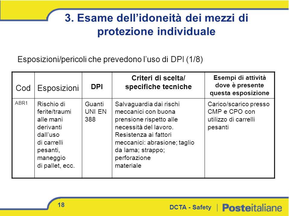 18 DCTA - Safety 3. Esame dellidoneità dei mezzi di protezione individuale CodEsposizioni DPI Criteri di scelta/ specifiche tecniche Esempi di attivit