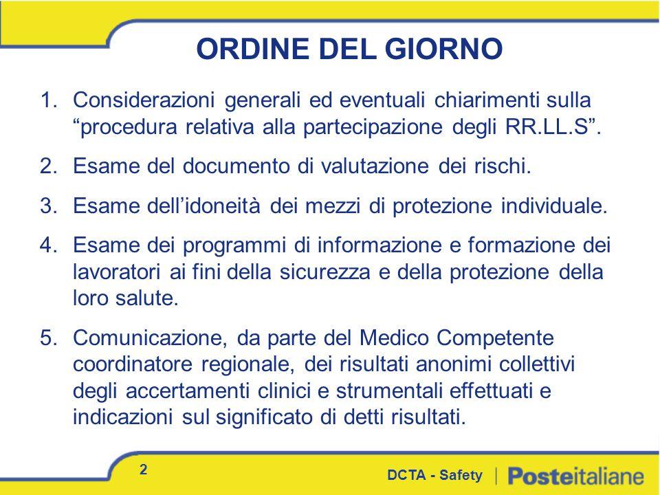1.Considerazioni generali ed eventuali chiarimenti sulla procedura relativa alla partecipazione degli RR.LL.S. 2.Esame del documento di valutazione de