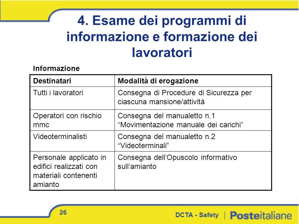 26 DCTA - Safety 4. Esame dei programmi di informazione e formazione dei lavoratori Informazione DestinatariModalità di erogazione Tutti i lavoratoriC