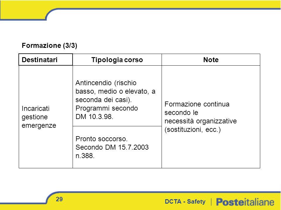 Formazione (3/3) Destinatari Tipologia corsoNote 29 DCTA - Safety Incaricati gestione emergenze Pronto soccorso. Secondo DM 15.7.2003 n.388. Formazion