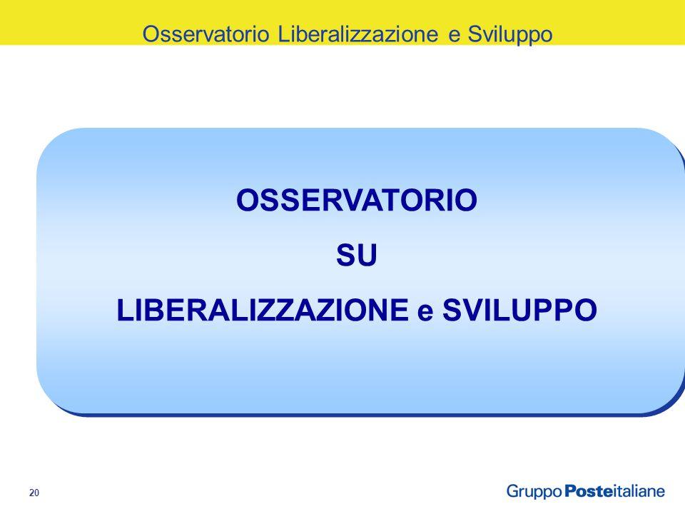 20 Osservatorio Liberalizzazione e Sviluppo OSSERVATORIO SU LIBERALIZZAZIONE e SVILUPPO
