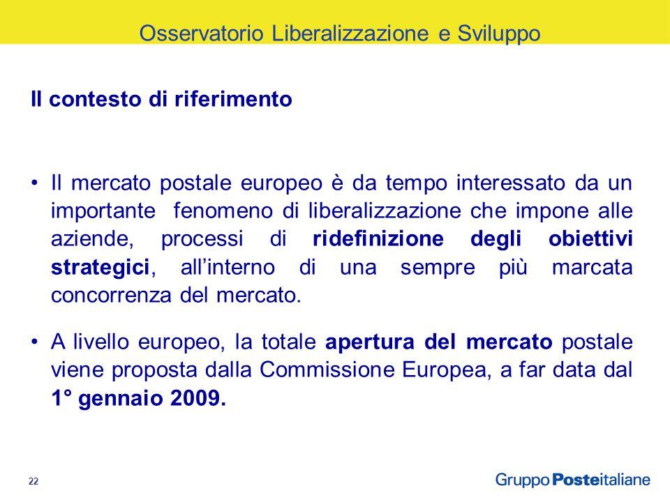 22 Il contesto di riferimento Il mercato postale europeo è da tempo interessato da un importante fenomeno di liberalizzazione che impone alle aziende, processi di ridefinizione degli obiettivi strategici, allinterno di una sempre più marcata concorrenza del mercato.