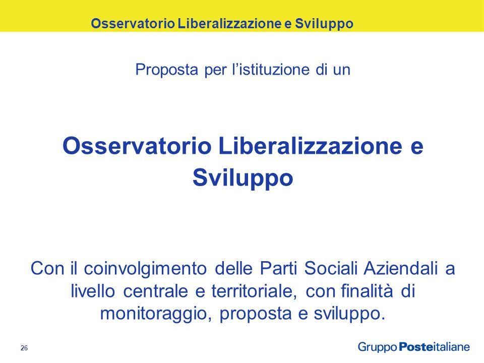 26 Proposta per listituzione di un Osservatorio Liberalizzazione e Sviluppo Con il coinvolgimento delle Parti Sociali Aziendali a livello centrale e territoriale, con finalità di monitoraggio, proposta e sviluppo.