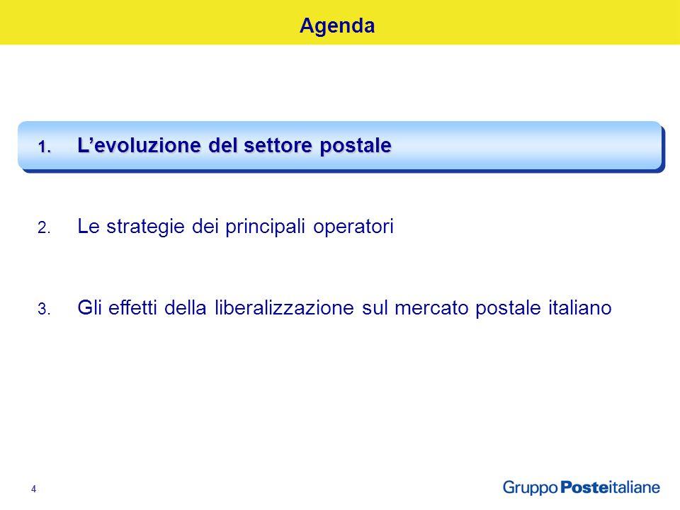 4 Agenda 1. Levoluzione del settore postale 2. Le strategie dei principali operatori 3.