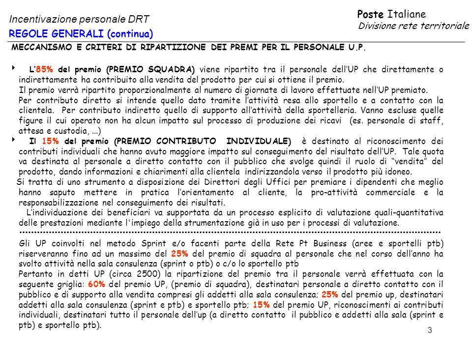 Poste Italiane Divisione rete territoriale 3 REGOLE GENERALI (continua) Incentivazione personale DRT MECCANISMO E CRITERI DI RIPARTIZIONE DEI PREMI PER IL PERSONALE U.P.