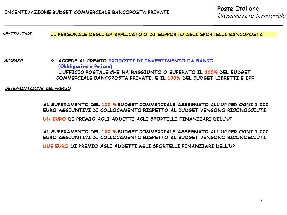 Poste Italiane Divisione rete territoriale 7 DESTINATARI ACCESSO IL PERSONALE DEGLI UP APPLICATO O DI SUPPORTO AGLI SPORTELLI BANCOPOSTA AL SUPERAMENTO DEL 100 % BUDGET COMMERCIALE ASSEGNATO ALLUP PER OGNI 1.000 EURO AGGIUNTIVI DI COLLOCAMENTO RISPETTO AL BUDGET VENGONO RICONOSCIUTI UN EURO DI PREMIO AGLI ADDETTI AGLI SPORTELLI FINANZIARI DELLUP DETERMINAZIONE DEL PREMIO INCENTIVAZIONE BUDGET COMMERCIALE BANCOPOSTA PRIVATI ACCEDE AL PREMIO PRODOTTI DI INVESTIMENTO DA BANCO (Obbligazioni e Polizze) LUFFICIO POSTALE CHE HA RAGGIUNTO O SUPERATO IL 100% DEL BUDGET COMMERCIALE BANCOPOSTA PRIVATI, E IL 100% DEL BUDGET LIBRETTI E BPF AL SUPERAMENTO DEL 130 % BUDGET COMMERCIALE ASSEGNATO ALLUP PER OGNI 1.000 EURO AGGIUNTIVI DI COLLOCAMENTO RISPETTO AL BUDGET VENGONO RICONOSCIUTI DUE EURO DI PREMIO AGLI ADDETTI AGLI SPORTELLI FINANZIARI DELLUP