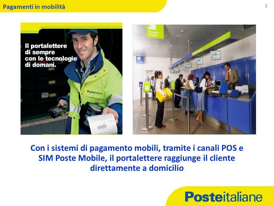05/02/2014 2 Pagamenti in mobilità Con i sistemi di pagamento mobili, tramite i canali POS e SIM Poste Mobile, il portalettere raggiunge il cliente di