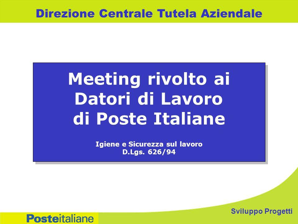 Sviluppo Progetti Direzione Centrale Tutela Aziendale Meeting rivolto ai Datori di Lavoro di Poste Italiane Igiene e Sicurezza sul lavoro D.Lgs. 626/9