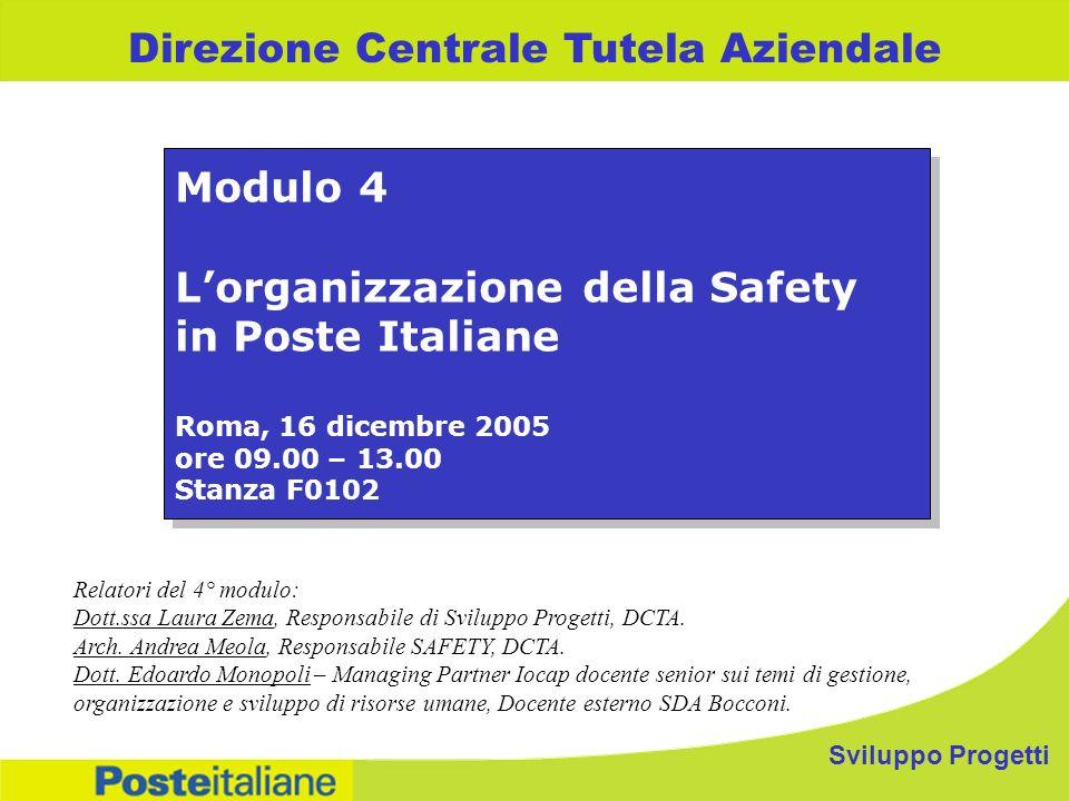 Sviluppo Progetti Direzione Centrale Tutela Aziendale Modulo 4 Lorganizzazione della Safety in Poste Italiane Roma, 16 dicembre 2005 ore 09.00 – 13.00