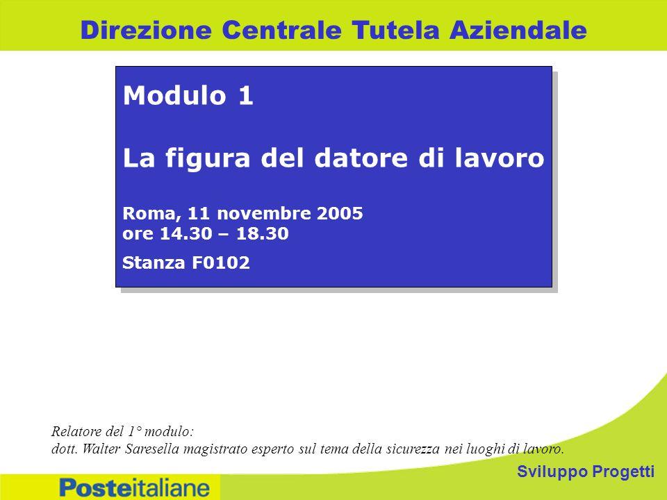 Sviluppo Progetti Direzione Centrale Tutela Aziendale Modulo 1 La figura del datore di lavoro Roma, 11 novembre 2005 ore 14.30 – 18.30 Stanza F0102 Mo