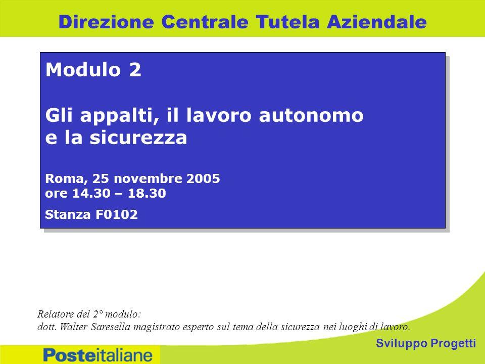 Sviluppo Progetti Direzione Centrale Tutela Aziendale Modulo 2 Gli appalti, il lavoro autonomo e la sicurezza Roma, 25 novembre 2005 ore 14.30 – 18.30