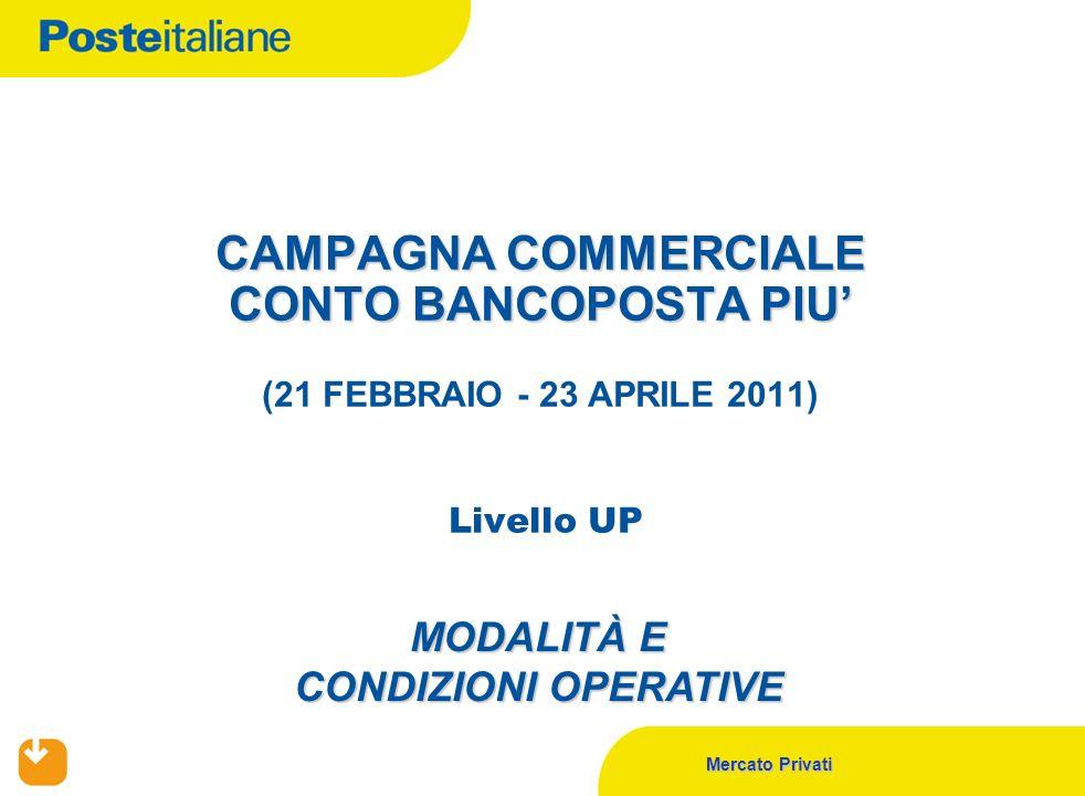Mercato Privati CAMPAGNA COMMERCIALE CONTO BANCOPOSTA PIU CAMPAGNA COMMERCIALE CONTO BANCOPOSTA PIU (21 FEBBRAIO - 23 APRILE 2011) Livello UP MODALITÀ